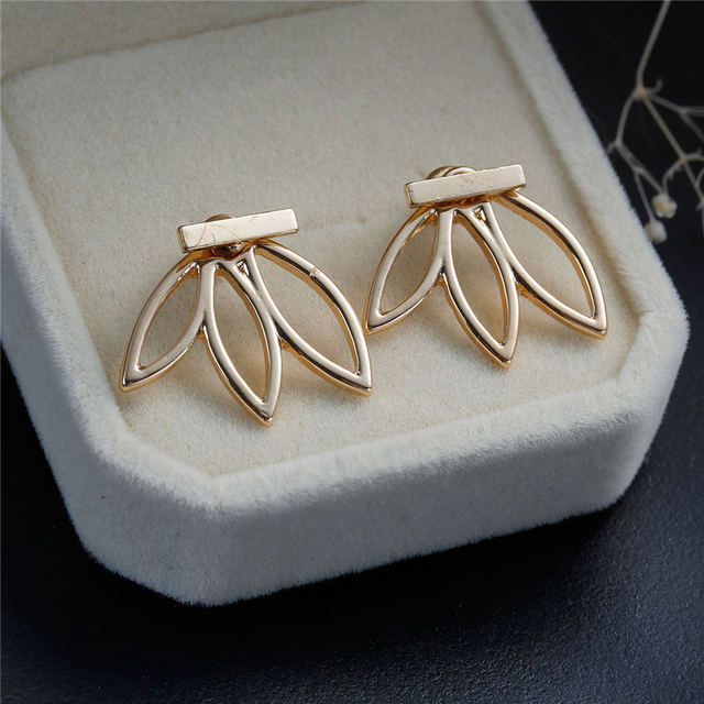 DoreenBeads Vintage Lotus Earrings Metal Bar Stud Earrings Fashion Ear Jacket Woman Jewelry Gold Plated / Silver tone 1 Piece