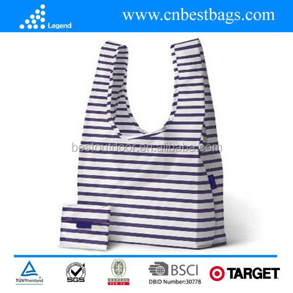 Wholesale Nylon Ripstop Reusable Shopping Bag ,Foldable Handle shopping bags