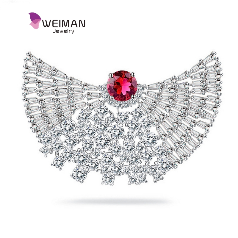 Factory direct Brass Platinum Plated Micro Pave Zirconia Fan Shape Brooch