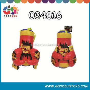 Hot sales sports set super fight leather boxing set for children outdoor and indoor game with gloves