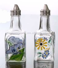 Wholesale Square Clear Glass Spice Jar with Painting Decoration