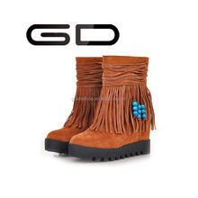GD China factory free sample tassel middle lady boots