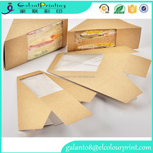disposable paper sandwich box with window,triangle paper sandwich box ,kraft paper sandwich packaging