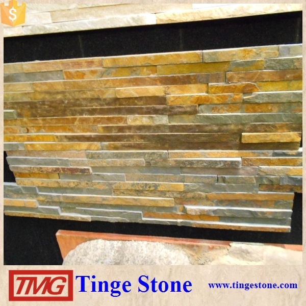 Wellest Rusty Brown Multi Color Slate Fan Shape Paver/Paving Stone,Meshed Stone