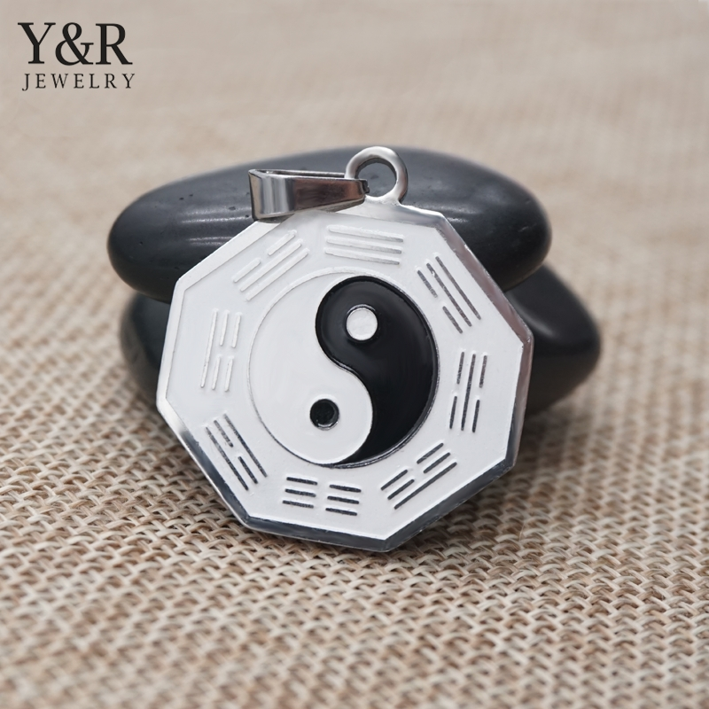 Stainless Steel Casting Eight Diagrams Necklace Yin Yang Pendant Jewelry For Men