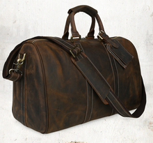 100% crazy horse leather message bag weekend duffel with leather strap mens leather travel bag