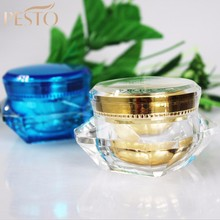 Fancy cosmetic diamond shape old small cold cream jar 15g