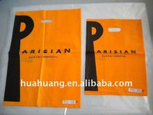 orange big P printing die cut handle shopping bag
