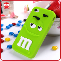 2014 3D M&M Chocolate Candy Rainbow Bean Smile Face Design Funny Silicone Case for Iphone 4