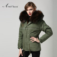 Green parka for women <strong>apparel</strong> supplier brown lining hood army parka fur jackets coat 2017 wholesale