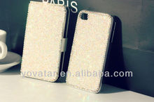 For iPhone5 case Bling Crystal Shining Flip PU Leather Case For iPhone5 5s