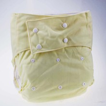 The double row button leak guard washable reusable thick solid light yellow adult cloth diaper manufacturer