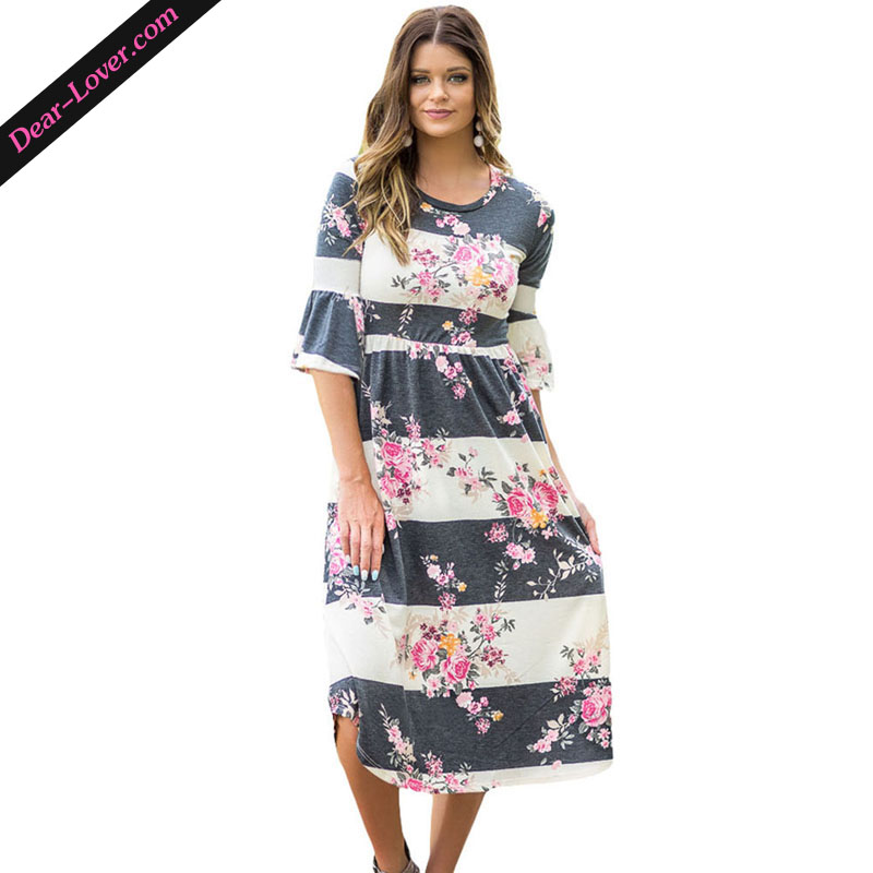 casual women 3/4 Bell Sleeve Floral Midi Dress i ladies dresses