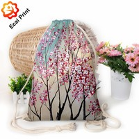 Portable flexible heat transfer digital printing drawstring shopping bag