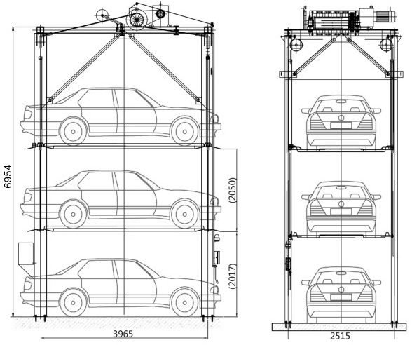 4 post PJS 3 layer vertical mechanical elevated car parking lift for public parking