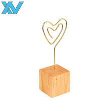 metal golden wire heart shape memo clips cube wooden base photo holder