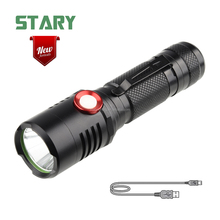 STARY new arrival aluminum dimmable long focus usb led rechargeable flashlight pocket flat mini torch tech light