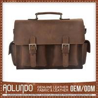 Plain Crazy Horse Brown Men's Leather Messenger Bags