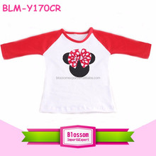 New design mommy and me raglan cotton kids t-shirts 3/4 ruffle red sleeves print Mickey pattern baby raglan t-shirts wholesale
