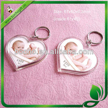 heart shape photo frame keyring