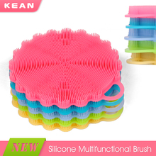 Popular kitchen dish washing brush silicone soft flower dish brush