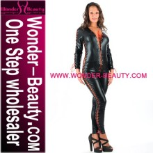 2014 Black long sleeve with red strap ladies leather catsuit