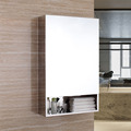 Bathroom Mirrored Cabinet with Double Shelf and Durable Piano Hinge 7092
