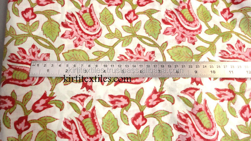 KTCF-47 Sanganeri Floral and Leaf Hand Block Printed 100% Organic cotton fabric Indian Traditional Jaipur Wholesale