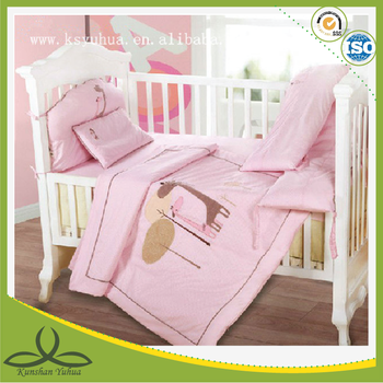 pink girl baby bedding set