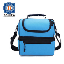 Lunch Box Blue Insulated Lunch Bag Large Cooler Tote Bag for Men, Women Great for Work, Camping, Picnics, The Beach