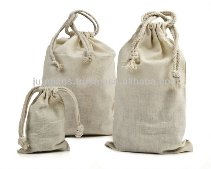 Cotton drawstring bag in different sizes