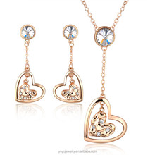 Heart shape earring and necklace crystal 18k gold plated fashion jewelry set
