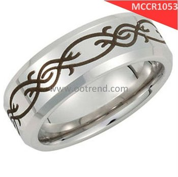 8mm width Laser engraving braided patent bright polishing cobalt chrome engagement bands