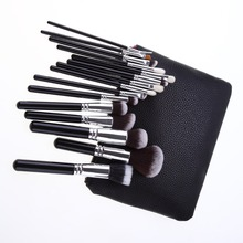 private label 15pcs Makeup Brushes Powder Foundation Eyeshadow Concealer Eyeliner Lip Brush Tool Black/Silver Premium Kit Set wi