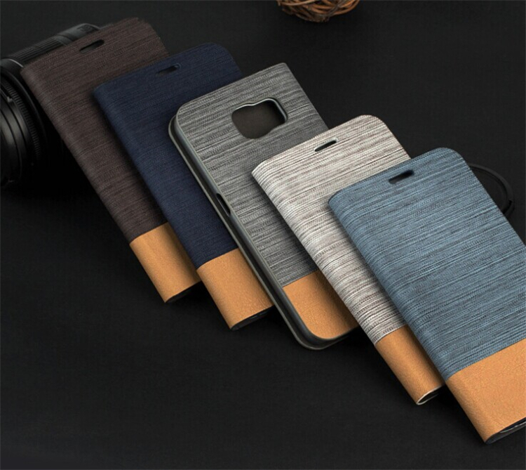2016 New Arrive Stand Book With Card Slots Wallet Flip Leather Jean Cloth Case for Samsung Galaxy s7