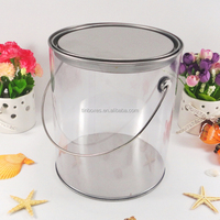Decorative transparent pvc body with handle round tin box