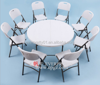 Foldable Round Dining Table 12 People Restaurant Furniture