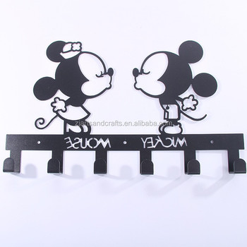 Metal Wall-mounted Mickey Shape Towel Clothes Hanging Rack Hooks