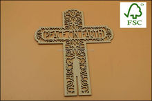 Customized laser cutting wooden craft crosses
