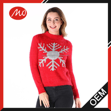 ladies knitted sweater Featuring decorative beads pullover 100% mohair Xmas jolly types of jumper