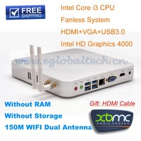 Mini Industrial PC 4G DDR3L 8G SSD Intel Core i3 4010U 1.7Ghz Home Theater Computer HDMI XBMC Car PC Windows DHL Free shipping