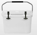 Rotational molding cooler box with stainless steel handle