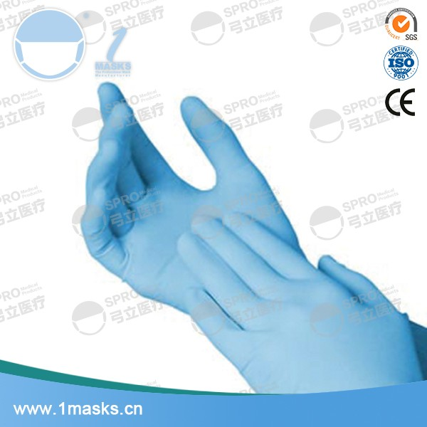Medical use doctor disposable blue colored nitrile gloves