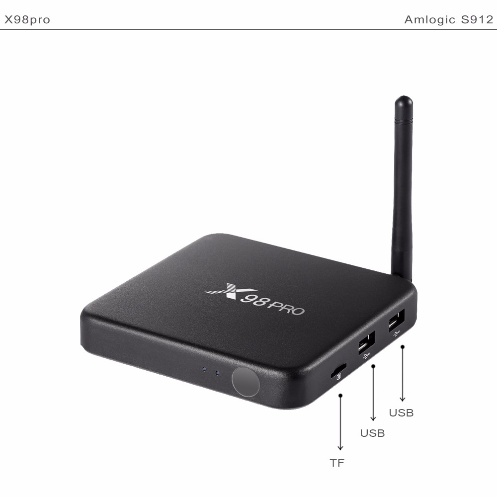 X98 Pro Android TV BOX 4K S912 2G/16G Android 6.0 BT 4.1 WIFI Smart Tv Box Media Player Mutil Language