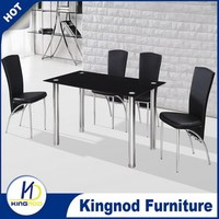 high quality modern black lacquer glass dining room furniture sets
