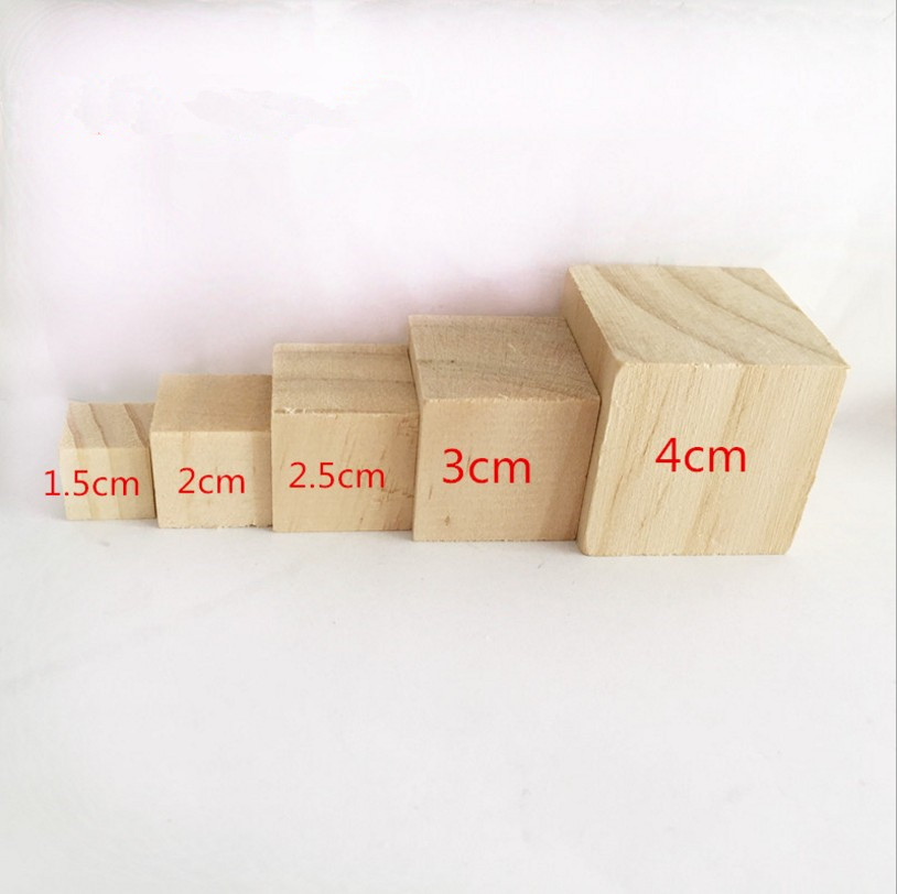 Custom Unfinished Solid Natural Wooden Square Block Cubes