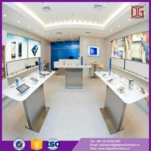 Customized shop interior design with display showcase mobile phone display cabinet