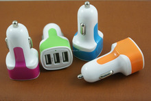 Colorful 3-USB port 3.1A fast charge car charger for iphone ipad ipod Samsung