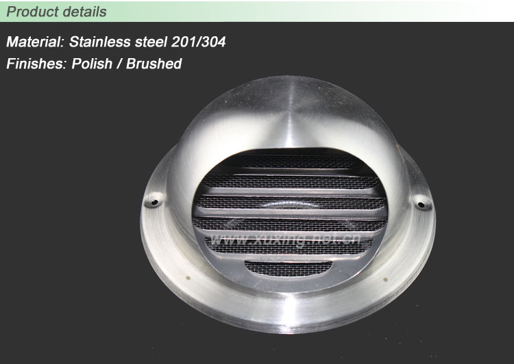 Stainless Steel Wall Cowl Air Vents Roof Vent Pipe Cover