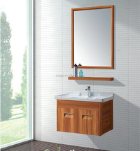 Wood color cabinet / Wall Mounted Aluminum 600mm Bathroom storage Vanity with tops